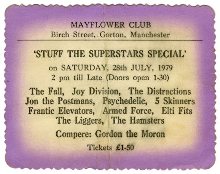 Joy Division Mayflower Club Concert Ticket Stub