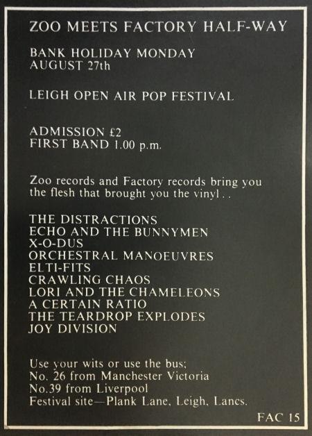 Joy Division 1979 Concert Poster.