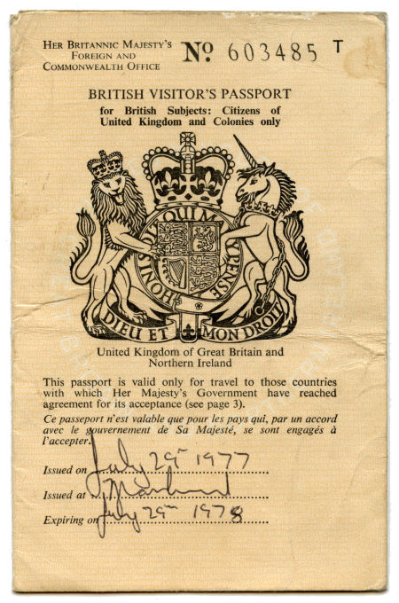 Peter Hook British Visitor Passport